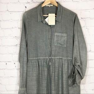TEA N ROSE Sage Chambray Shirt Dress LARGE NEW NWT